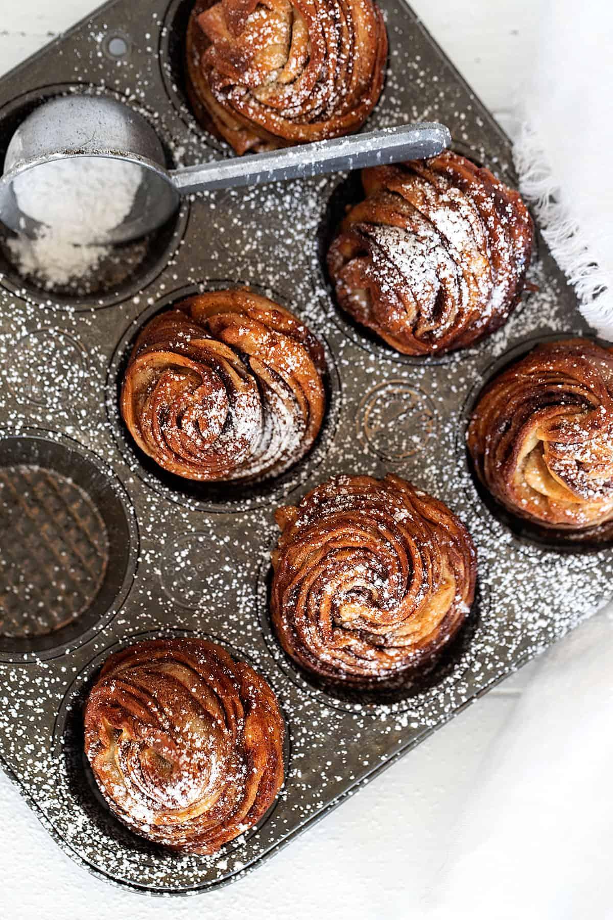 cinnamon sugar cruffins in muffin tin