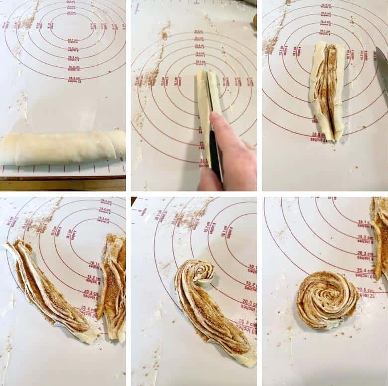 photo collage of steps to make cinnamon sugar cruffins 4