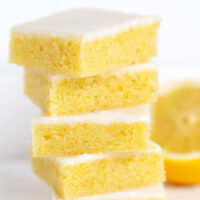 lemon blondies stacked up