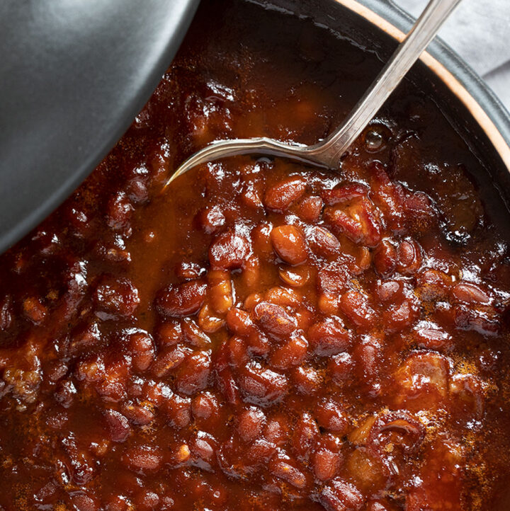 peppy baked beans in casserole dish