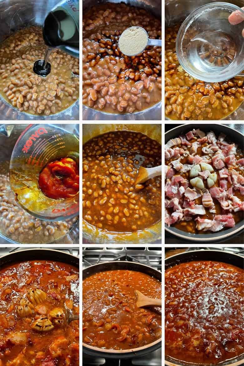 photo collage of steps to make Peppy Baked Beans