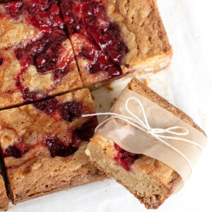 strawberry blondies cut and wrapped