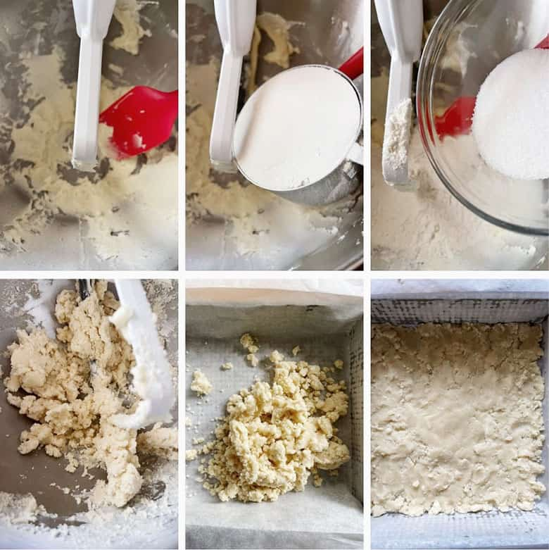 photo collage of steps to make butter tart squares 1