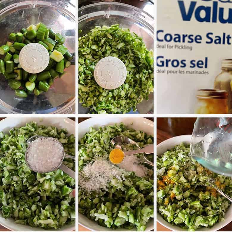 Photo collage of steps to make dill pickle relish 1