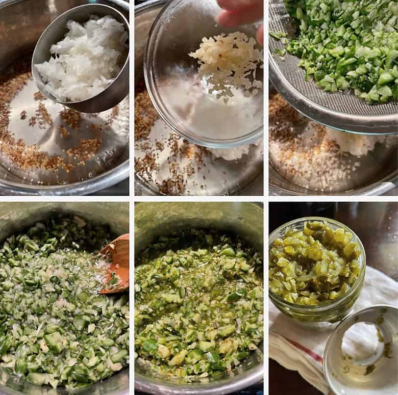 photo collage of steps to make dill pickle relish 3