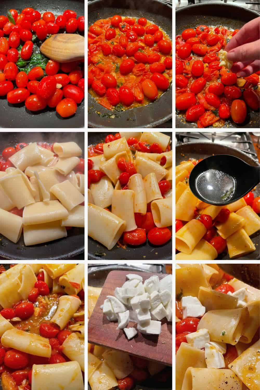 photo collage of steps to make pasta alla sorrentina 2