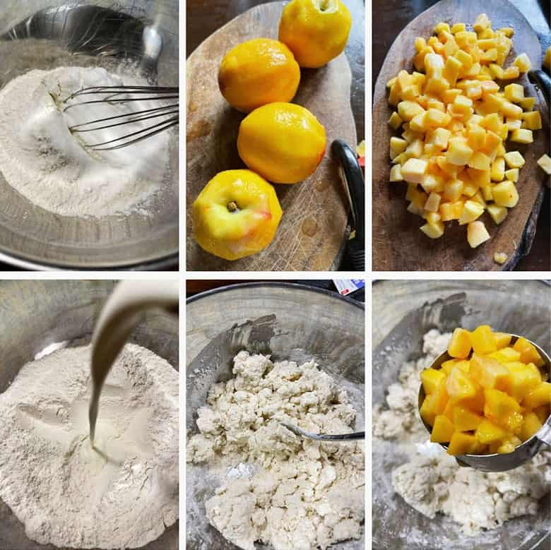 photo collage of steps to make Peaches and Cream Scones 1
