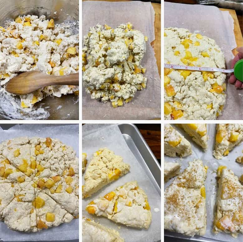 photo collage of steps to make Peaches and Cream Scones 2