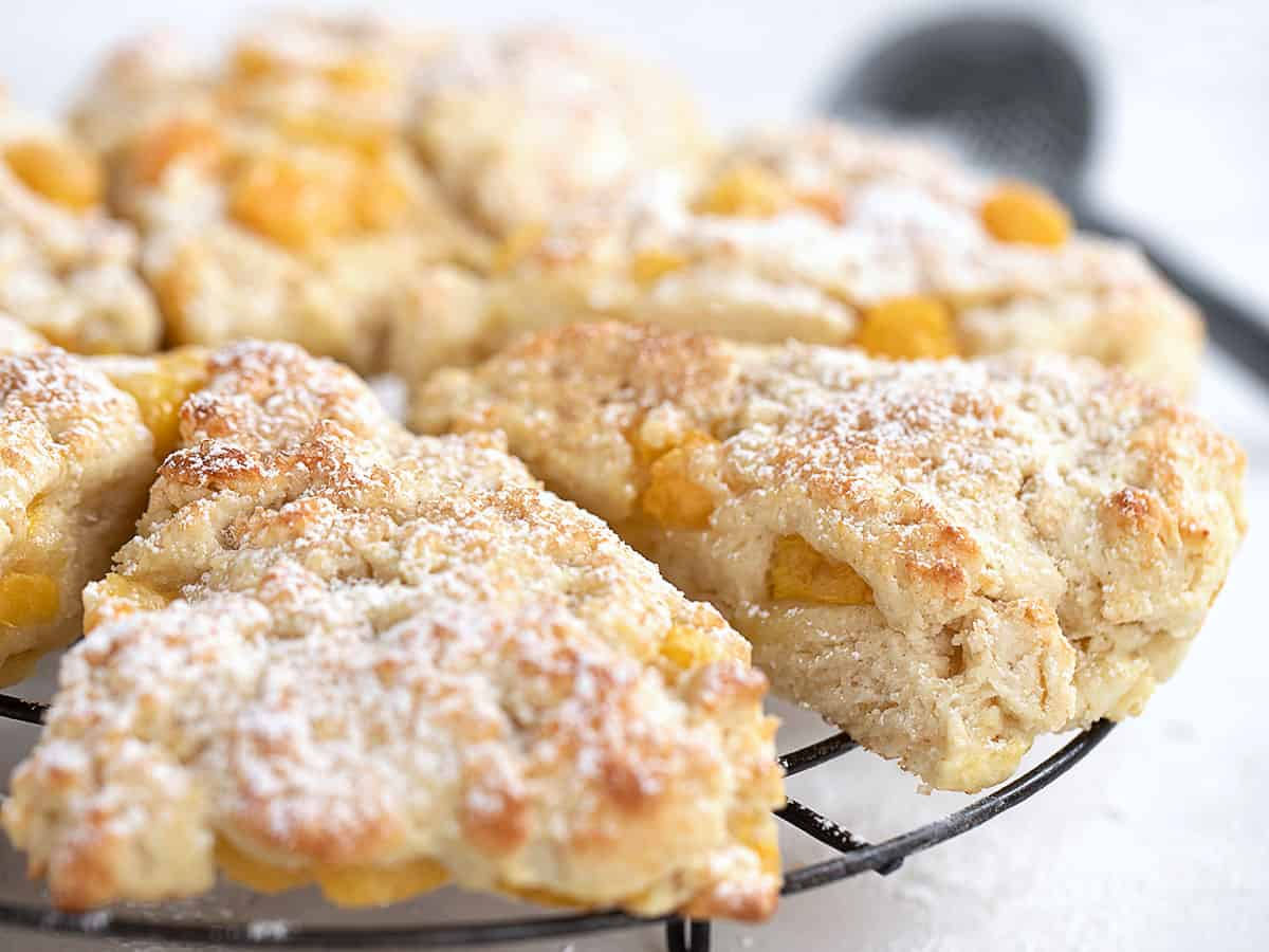 peaches and cream scones on cooling rack