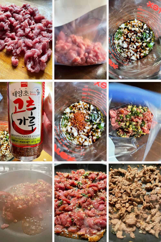 photo collage of steps to make pork bulgogi