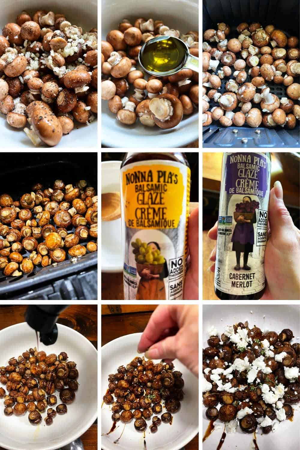 photo collage of steps to make air fryer mushrooms