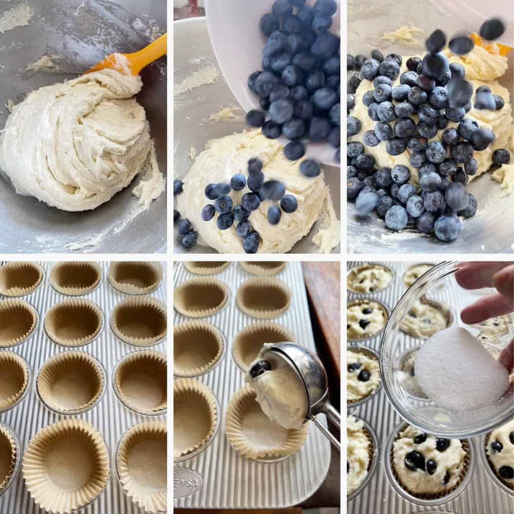 photo collage of steps to make buttermilk blueberry muffins 2