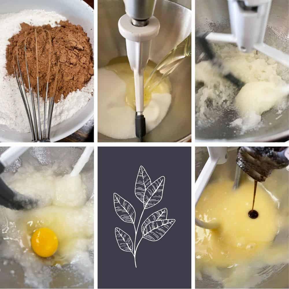 photo collage of steps to make chocolate bundt cake 1