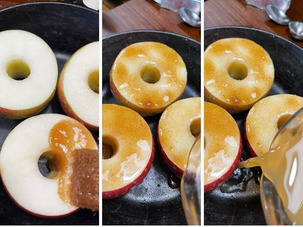 photo collage of steps to make baked apples 2