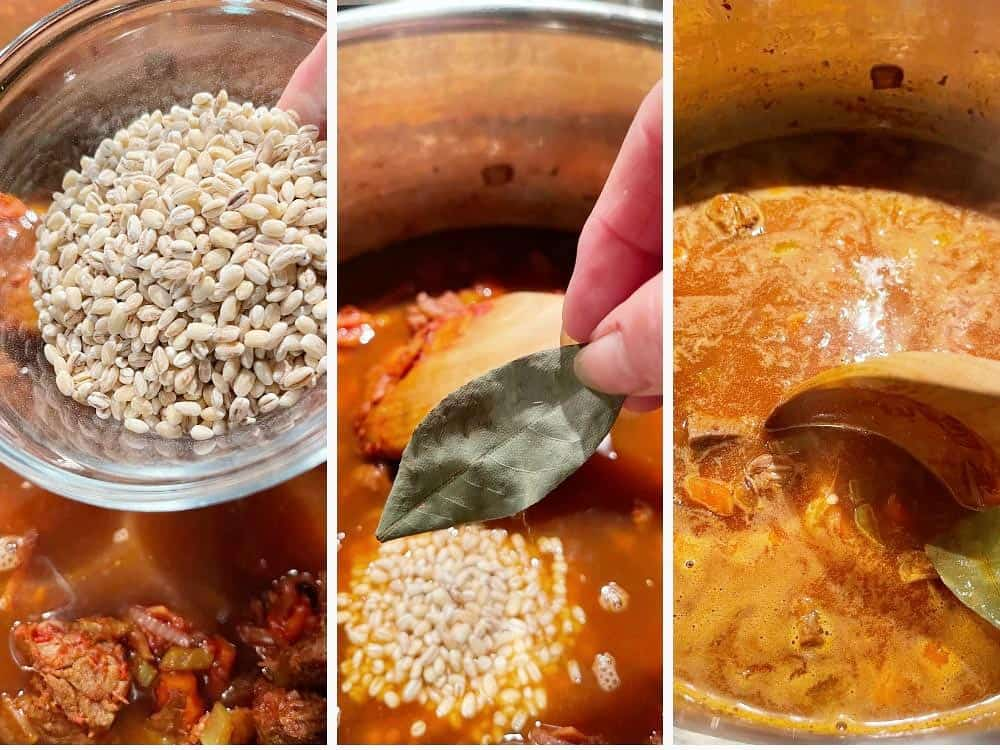 photo collage of steps to make beef and barley soup 4