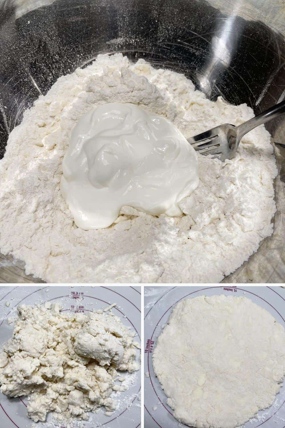 photo collage of steps to make blackberry cobbler 2