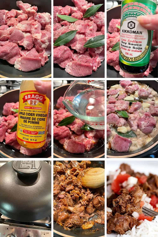 photo collage of steps to make pork adobo