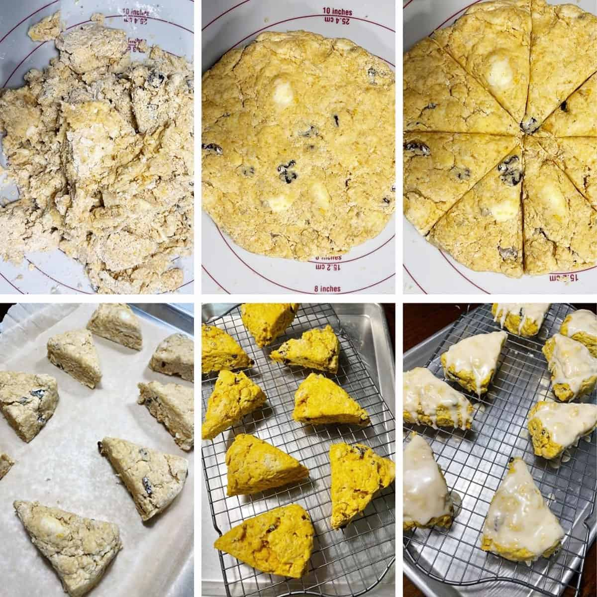 photo collage of steps to make pumpkin scones 2