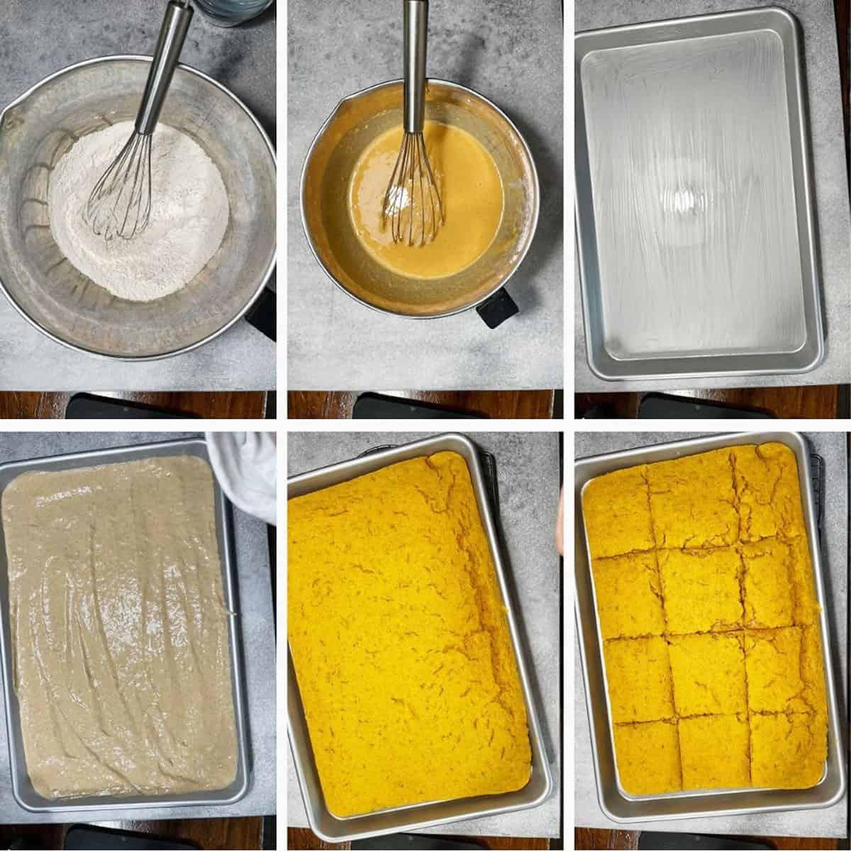 photo collage of steps to make pumpkin sheet pan pancakes