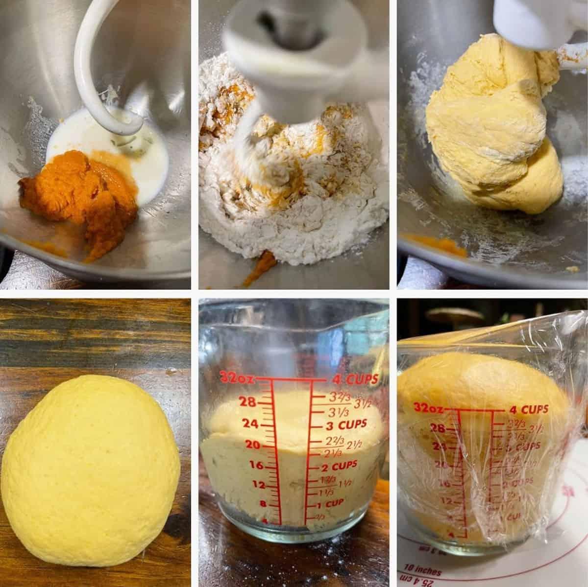 photo collage of steps to make pumpkin cinnamon yeast bread 1