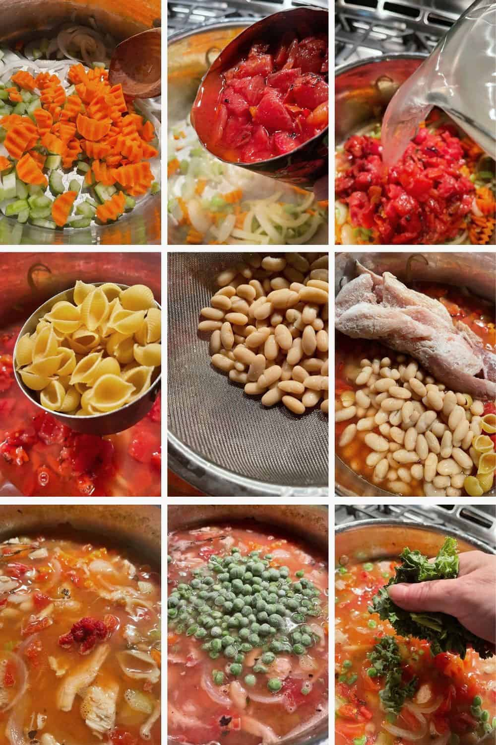 photo collage of steps to make turkey vegetable soup